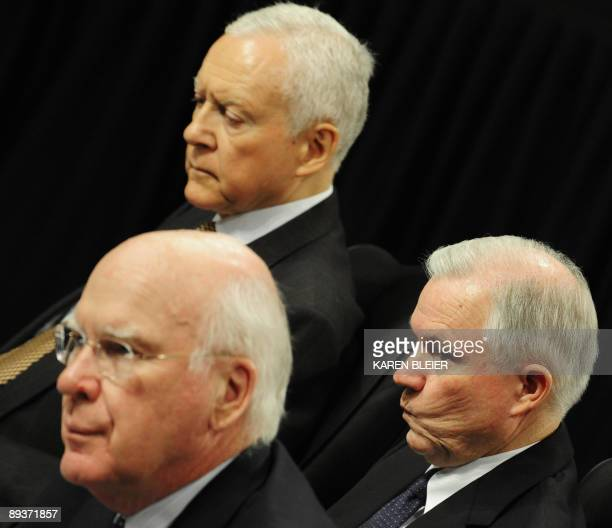 Senators Orin HatchRUT Jeff Sessions RAL and chairman Patrick Leahymembers of the Senate Judiciary Committee listen to fellow committee members on...