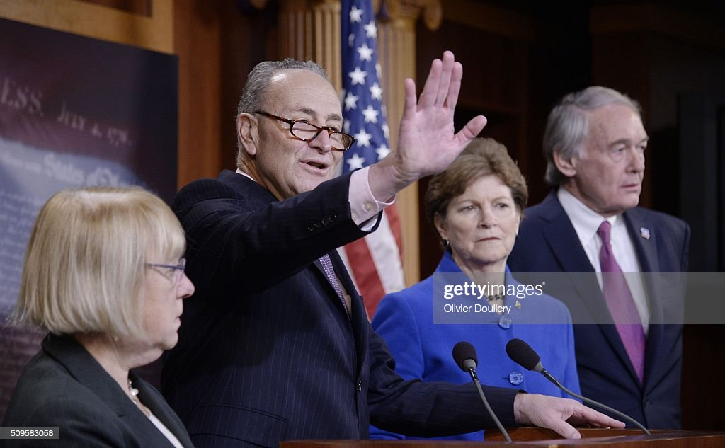 Senators <a gi-track='captionPersonalityLinkClicked' href=/galleries/search?phrase=Patty+Murray&family=editorial&specificpeople=532963 ng-click='$event.stopPropagation()'>Patty Murray</a> (D-WA), Chuck Schumer (D-NY), <a gi-track='captionPersonalityLinkClicked' href=/galleries/search?phrase=Jeanne+Shaheen&family=editorial&specificpeople=5591285 ng-click='$event.stopPropagation()'>Jeanne Shaheen</a> (D-NH) and Ed Markey (D-MA) attend a press conference at the U.S Capitol on February 11, 2016 in Washington, DC. The senators are calling on senate Republicans to support the passage of emergency funding to tackle the prescription opioid and heroin crisis.