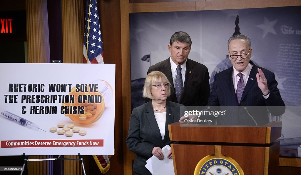 Senators <a gi-track='captionPersonalityLinkClicked' href=/galleries/search?phrase=Patty+Murray&family=editorial&specificpeople=532963 ng-click='$event.stopPropagation()'>Patty Murray</a> (D-WA), <a gi-track='captionPersonalityLinkClicked' href=/galleries/search?phrase=Joe+Manchin&family=editorial&specificpeople=568465 ng-click='$event.stopPropagation()'>Joe Manchin</a> (D-WV) and Chuck Schumer (D-NY) attend a press conference at the U.S Capitol on February 11, 2016 in Washington, DC. The senators are calling on senate Republicans to support the passage of emergency funding to tackle the prescription opioid and heroin crisis.