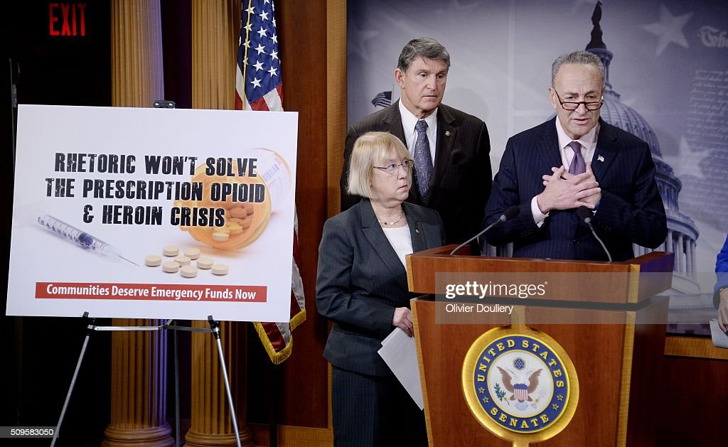Senators Patty Murray (D-WA), Joe Manchin (D-WV) and Chuck Schumer (D-NY) attend a press conference at the U.S Capitol on February 11, 2016 in Washington, DC. The senators are calling on senate Republicans to support the passage of emergency funding to tackle the prescription opioid and heroin crisis.