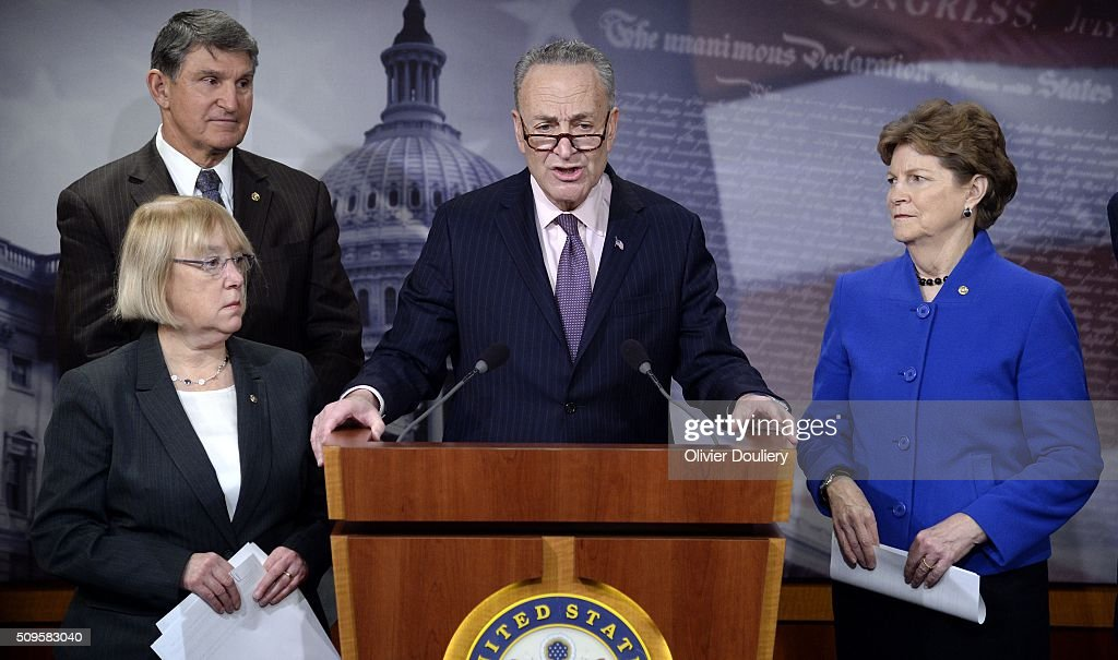 Senators Patty Murray (D-WA), Joe Manchin (D-WV), Chuck Schumer (D-NY) and Jeanne Shaheen (D-NH) attend a press conference at the U.S Capitol on February 11, 2016 in Washington, DC. The senators are calling on senate Republicans to support the passage of emergency funding to tackle the prescription opioid and heroin crisis.
