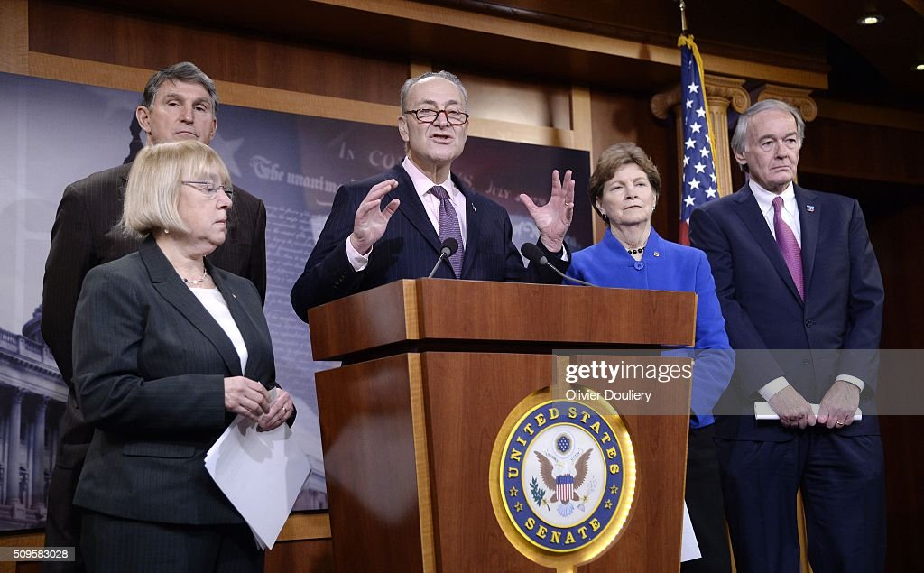 Senators <a gi-track='captionPersonalityLinkClicked' href=/galleries/search?phrase=Patty+Murray&family=editorial&specificpeople=532963 ng-click='$event.stopPropagation()'>Patty Murray</a> (D-WA), Joe Manchin (D-WV), Chuck Schumer (D-NY), <a gi-track='captionPersonalityLinkClicked' href=/galleries/search?phrase=Jeanne+Shaheen&family=editorial&specificpeople=5591285 ng-click='$event.stopPropagation()'>Jeanne Shaheen</a> (D-NH) and Ed Markey (D-MA) attend a press conference at the U.S Capitol on February 11, 2016 in Washington, DC. The senators are calling on senate Republicans to support the passage of emergency funding to tackle the prescription opioid and heroin crisis.