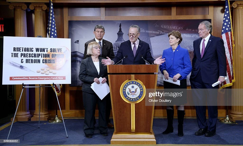 Senators Patty Murray (D-WA), Joe Manchin (D-WV), Chuck Schumer (D-NY), Jeanne Shaheen (D-NH) and Ed Markey (D-MA) attend a press conference at the U.S Capitol on February 11, 2016 in Washington, DC. The senators are calling on senate Republicans to support the passage of emergency funding to tackle the prescription opioid and heroin crisis.