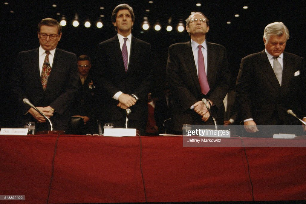 Senators Pete Domenici John Kerry and Edward Kennedy attend the nomination of Deputy Secretary of Defense John Deutch as director of the CIA A former...