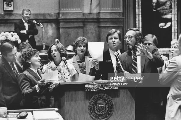 Senators sing song on floor of the Senate 'Make it Ordway' From left Sens Steve Durham Jana Mendez Martha Ezzard Kathy Arnold Jack Fenlon Dennis...