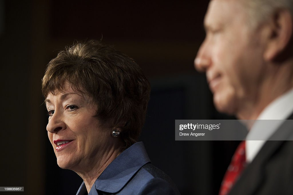 Senators <a gi-track='captionPersonalityLinkClicked' href=/galleries/search?phrase=Susan+Collins+-+Politician&family=editorial&specificpeople=212962 ng-click='$event.stopPropagation()'>Susan Collins</a> (R-ME) and Joe Lieberman (I-CT) hold a press conference about their report on the Benghazi consulate attack, on Capitol Hill, on December 31, 2012 in Washington, DC. The report was released on Monday by the Senate Committee on Homeland Security and Government Affairs and cites 'extremely poor security in a threat environment.'