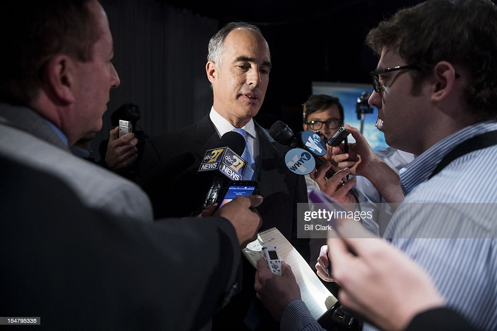 Sen.Bob Casey, D-Pa., speaks with reporters at the end of his debate with Republican challenger Tom Smith at WPVI, the ABC affiliate in Philadelphia on Friday, Oct. 26, 2012.