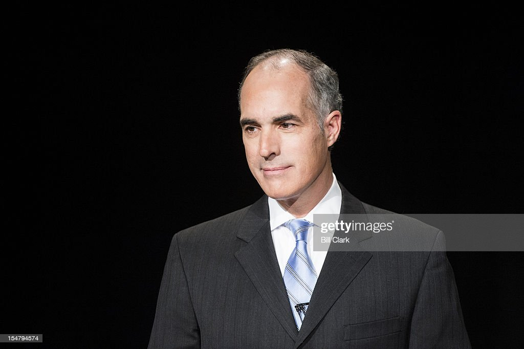 Sen.Bob Casey, D-Pa, waits for the start of the debate with his Republican challenger Tom Smith at WPVI, the ABC affiliate in Philadelphia on Friday, Oct. 26, 2012.