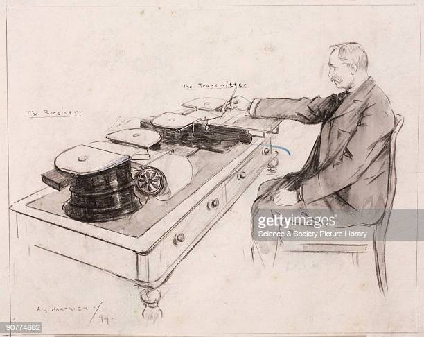 'Sending a message by telautograph' 1894 Pen and ink drawing by A S Hartrick showing a man using the telautograph which was invented and named by...