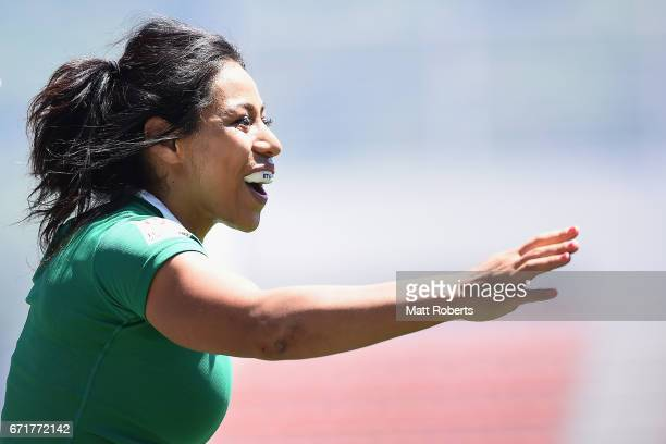 Sene Naoupu of Ireland celebrates scoring a try during the HSBC World Rugby Women's Sevens Series 2016/17 Kitakyushu challenge trophy semi final...
