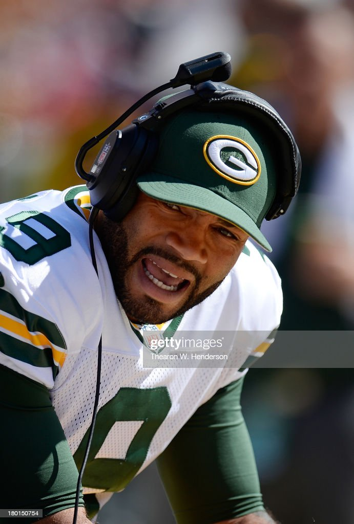 Seneca Wallace #9 of the Green Bay Packers looks on from the sidelines during the third quarter against the San Francisco 49ers at Candlestick Park on September 8, 2013 in San Francisco, California. The 49ers won the game 34-28.