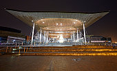 Senedd, Welsh Parliament building at night