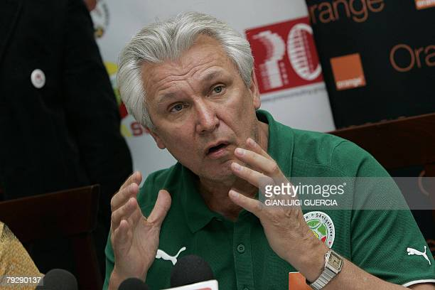 Senegal coach Henri Kasperczak gives a press conference to announce his resignation following his side's crushing 31 loss to Angola at the African...