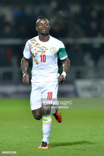 Senegal forward Sadio Mane plays during their international match against Nigeria at The Hive Stadium Barnet March 23 2017 / AFP PHOTO / OLLY...