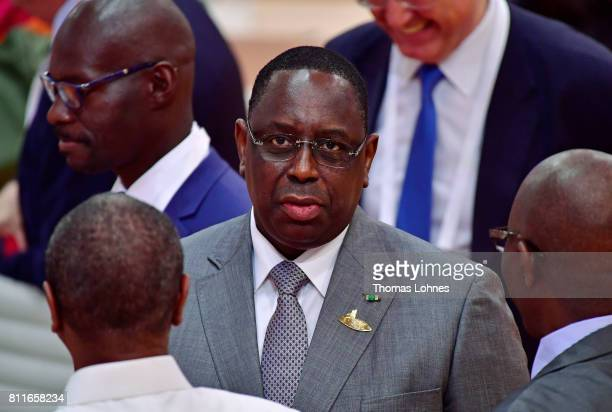 Senegal President Macky Sall arrives for the morning working session on the second day of the G20 economic summit on July 8 2017 in Hamburg Germany...