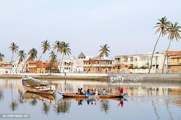 Senegal, Saint Louis, people in fishing boat