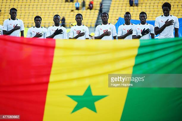 Senegal sing the national anthem during the FIFA U20 World Cup New Zealand 2015 quarterfinal match between Senegal and Uzbekistan at Wellington...