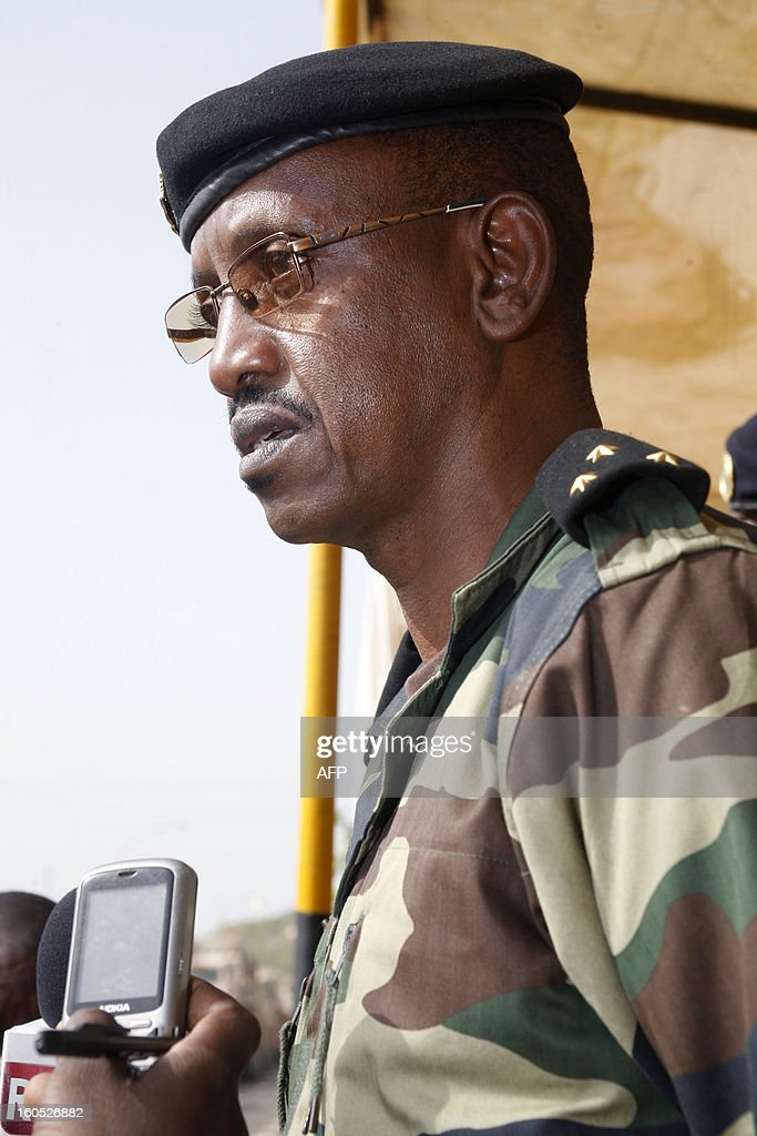 Senegalese army chief, General Mamadou Sow answers to journalists after reviewing the troops in the Captain Moussa Dioum military camp of Bargny, near Dakar, on February 2, 2013 in Dakar, before their departure for Mali as part of the second contingent of Senegalese troops to back Malian forces. President Francois Hollande arrived in Mali Saturday to push for African troops to replace French forces who led a lightning advance that drove back radical Islamists from the country's desert north. BEHAN