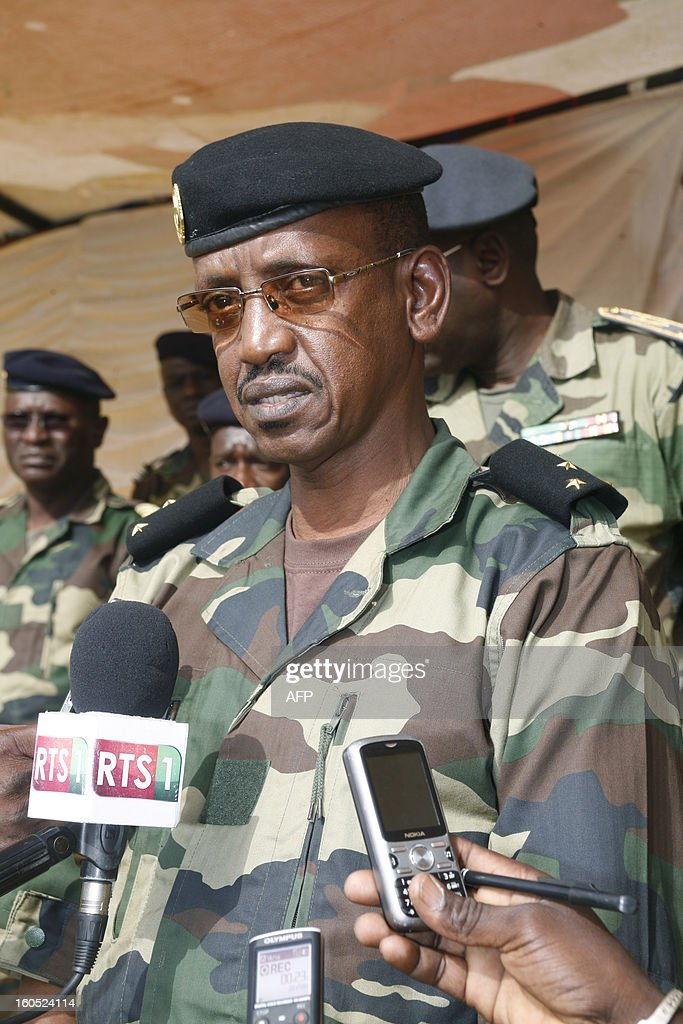 Senegalese army chief, General Mamadou Sow speaks to journalists after reviewing the troops in the Captain Moussa Dioum military camp of Bargny, near Dakar, on February 2, 2013 in Dakar, before their departure for Mali as part of the second contingent of Senegalese troops to back Malian forces. President Francois Hollande arrived in Mali Saturday to push for African troops to replace French forces who led a lightning advance that drove back radical Islamists from the country's desert north. BEHAN