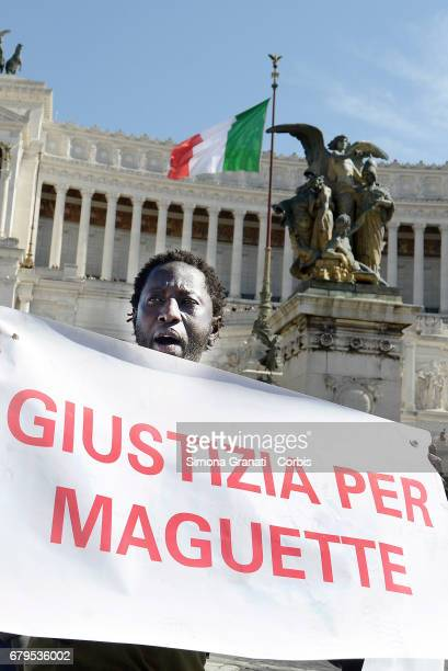 Senegalese community and antiracist associations protest to seek justice for Niang Maguette a Senegalese 54yearold salesman who died on May 3 in Rome...