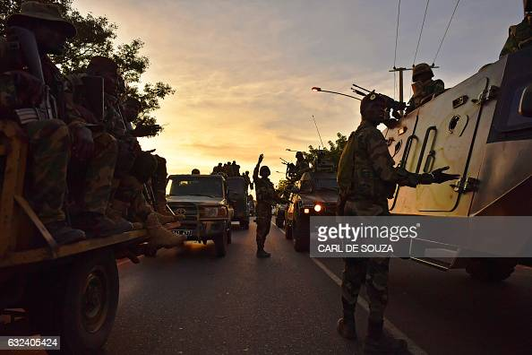 TOPSHOT Senegalese ECOWAS soldiers arrive in Banjul on January 22 2017 as the arrive to secure the Statehouse West African troops approached the...