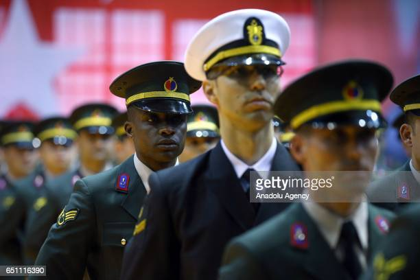 Senegalese extension student Ahmeth Niang attends the graduation ceremony of Gendarmerie and Coast Guard Academy in Ankara Turkey on March 10 2017