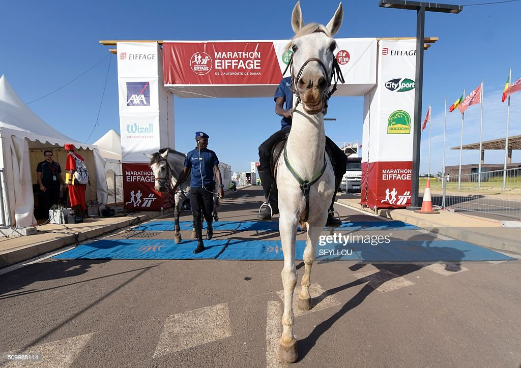 Senegalese mounted police supervise the first ever Dakar International Marathon organised by the BTP Eiffage society on February 13, 2016 where thousands of people including numerous teenagers and children, took part in the two-day tournament. The competition started on February 13 in front of International Conference Center Abou Diouf (Cicad) on the outskirts of Dakar with different runs of 10 km and will end the day after, February 14, with a marathon. The BTP Eiffage society hosted the event to celebrates its 90 years of presence in Senegal. / AFP / SEYLLOU