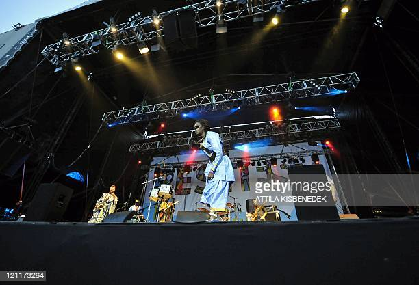 Senegalese musician Cheikh Lo performs during a concert on the World Music stage on the last day of the sixday long Sziget Festival on August 14 on...