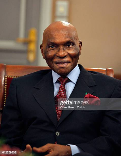 Senegalese President Abdoulaye Wade during a meeting with Princess Mathilde of Belguim who is on an official fourday visit in Senegal within the...