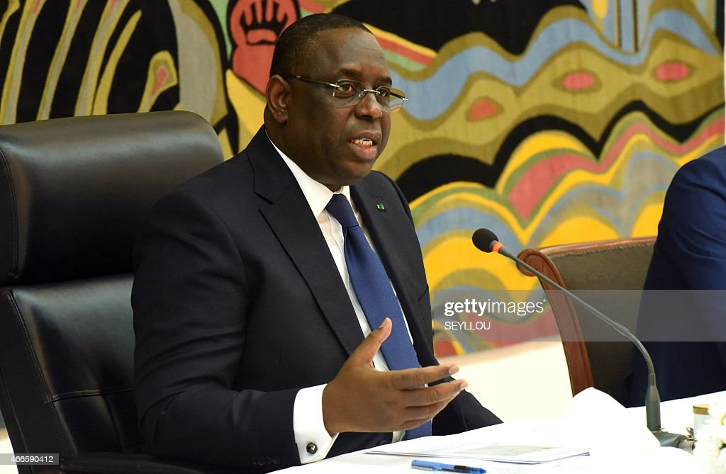 Senegalese President <a gi-track='captionPersonalityLinkClicked' href=/galleries/search?phrase=Macky+Sall&family=editorial&specificpeople=598630 ng-click='$event.stopPropagation()'>Macky Sall</a> gives a press conference on March 17, 2015 at the presidential palace in Dakar during which he announced that he intended to submit to a referendum in 2016 a proposition to reduce the presidential term from seven to five years, enabling the organization of elections in 2017.