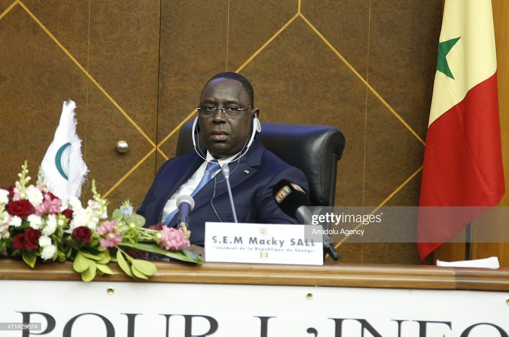 Senegalese president <a gi-track='captionPersonalityLinkClicked' href=/galleries/search?phrase=Macky+Sall&family=editorial&specificpeople=598630 ng-click='$event.stopPropagation()'>Macky Sall</a> is seen during the 10th session of the Organization of Islamic Cooperation (OIC) Standing Committee for Information and Cultural Affairs (COMIAC) themed 'Role of the Youth and Media for Peace and Stability in the Muslim World' in Dakar, Senegal on April 28, 2015.