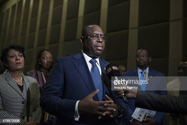 Senegalese President Macky Sall speaks to the media prior to the 33rd Session of the New Partnership for Africa's Development at the Sandton...