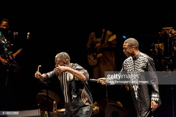 Senegalese singer Youssou N'Dour and Assane Thiam on the tama performs with N'Dour's band Super Etoile de Dakar during the 2014 Next Wave Festival at...