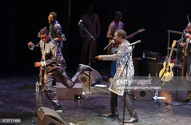 Senegalese singer Youssou N'Dour and Babacar Faye perform with N'Dour's band Super Etoile de Dakar during the 2014 Next Wave Festival at the BAM...