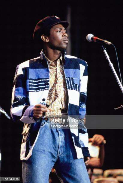 Senegalese singer Youssou N'Dour performs at the 'Human Rights Now' concert in aid of Amnesty International held at Wembley Stadium on September 2...
