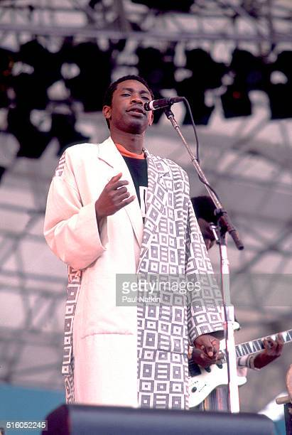 Senegalese singer Youssou N'Dour performs onstage Boston Massachussetts April 25 1992