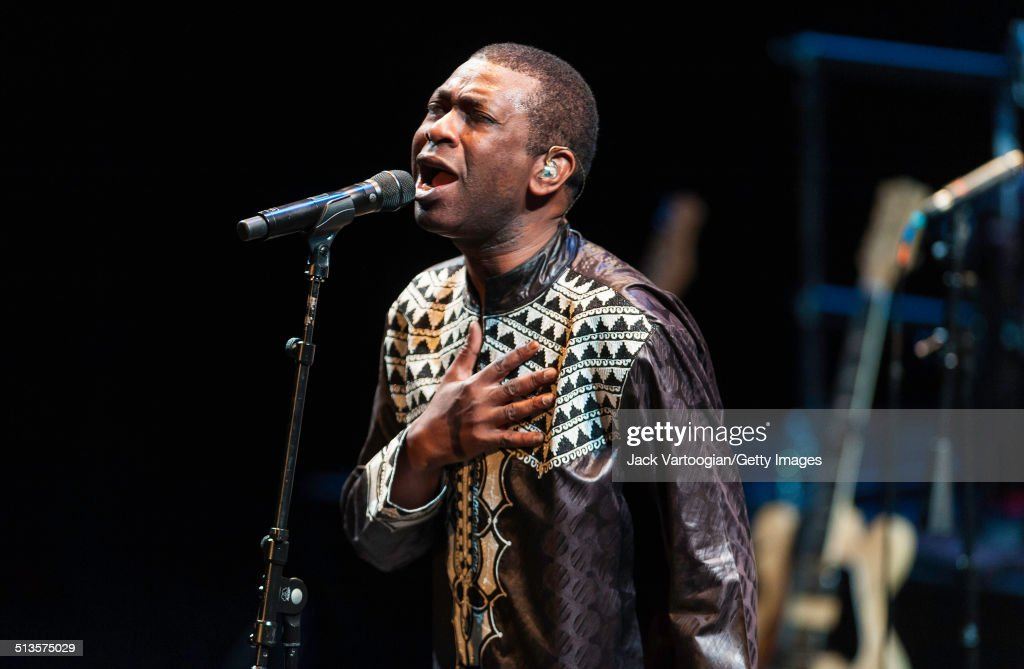 Senegalese singer (and politician) <a gi-track='captionPersonalityLinkClicked' href=/galleries/search?phrase=Youssou+N%27Dour&family=editorial&specificpeople=235392 ng-click='$event.stopPropagation()'>Youssou N'Dour</a> performs with his band, Super Etoile de Dakar, during the 2014 Next Wave Festival at the BAM Howard Gilman Opera House, Brooklyn, New York, New York, September 12, 2014. The concert was part of a series celebrating the 50th anniversary of Nonesuch Records.