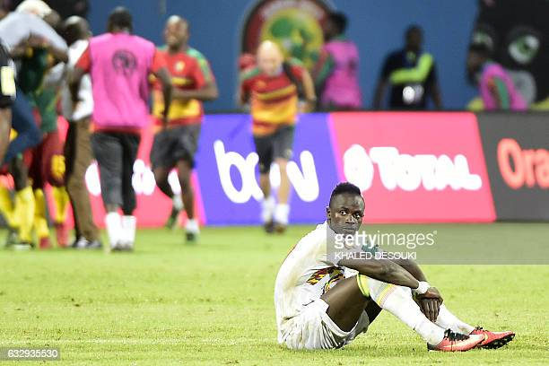 Senegal's forward Sadio Mane reacts after the penalty shootout at the end of the 2017 Africa Cup of Nations quarterfinal football match between...