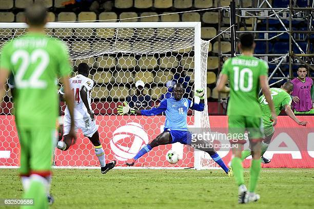 TOPSHOT Senegal's goalkeeper Khadim N'Diaye blocks a shot on goal during the 2017 Africa Cup of Nations group B football match between Senegal and...