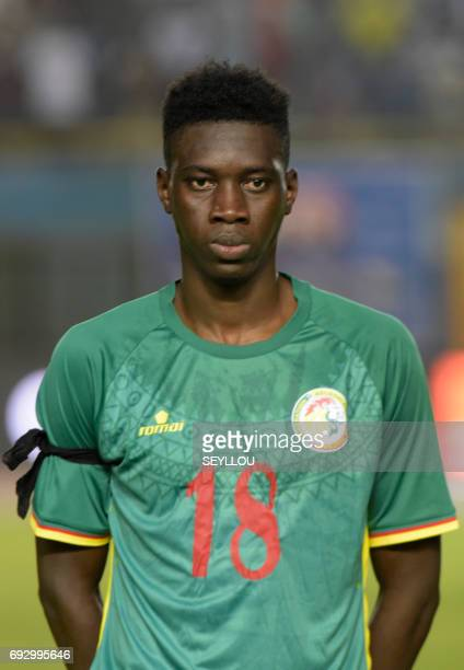 Senegal's Ismaila Sarr is pictured prior to the friendly football match between Senegal and Uganda at Leopold Sedar Senghor stadium in Dakar on June...
