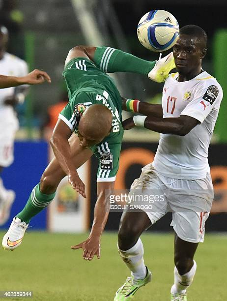 Senegal's midfielder Idrissa Gana Gueye vies with Algeria's midfielder Yacine Brahimi during the 2015 African Cup of Nations group C football match...