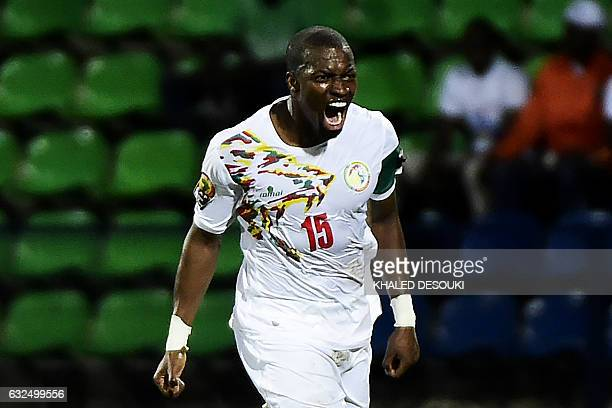 Senegal's midfielder Papakouli Diop celebrates after scoring a goal during the 2017 Africa Cup of Nations group B football match between Senegal and...
