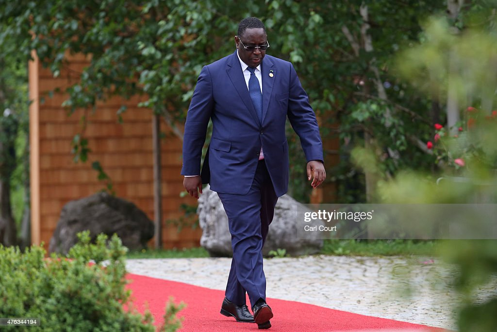 Senegal's President <a gi-track='captionPersonalityLinkClicked' href=/galleries/search?phrase=Macky+Sall&family=editorial&specificpeople=598630 ng-click='$event.stopPropagation()'>Macky Sall</a> arrives to attend a working session with outreach guests at the summit of G7 nations at Schloss Elmau on June 8, 2015 near Garmisch-Partenkirchen, Germany. In the course of the two-day summit G7 leaders are scheduled to discuss global economic and security issues, as well as pressing global health-related issues, including antibiotics-resistant bacteria and Ebola. Several thousand protesters have announced they will seek to march towards Schloss Elmau and at least 17,000 police are on hand to provide security.