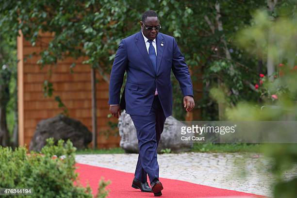 Senegal's President Macky Sall arrives to attend a working session with outreach guests at the summit of G7 nations at Schloss Elmau on June 8 2015...