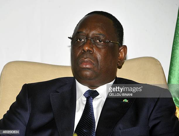 Senegal's President Macky Sall is pictured prior to an Organisation for the Development of the Senegal River summit in Conakry on March 11 2015 The...