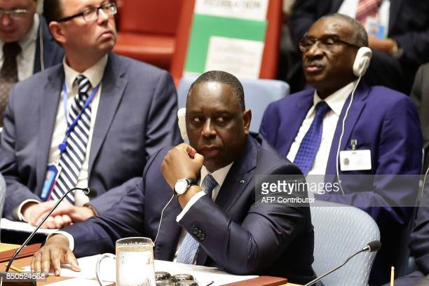 Senegal's President Macky Sall looks on as he participates with other leaders in an open debate of the United Nations Security Council in New York on...