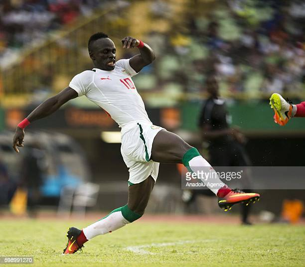 Senegal's Sadio Mane is in action during the 2017 African Cup of Nations qualification football match between the national teams of Senegal and...