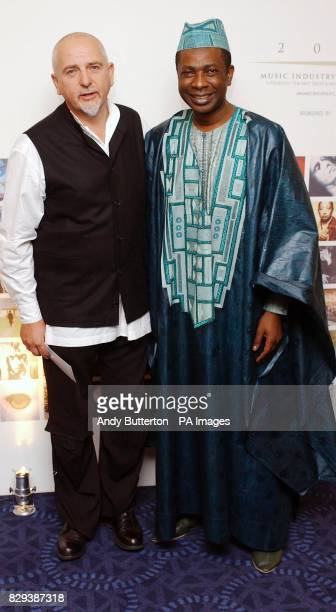 Senelalese singer Youssou N'Dour and musician Peter Gabriel during the annual Music Industry Trust Dinner this year honouring Peter at the Grovesnor...