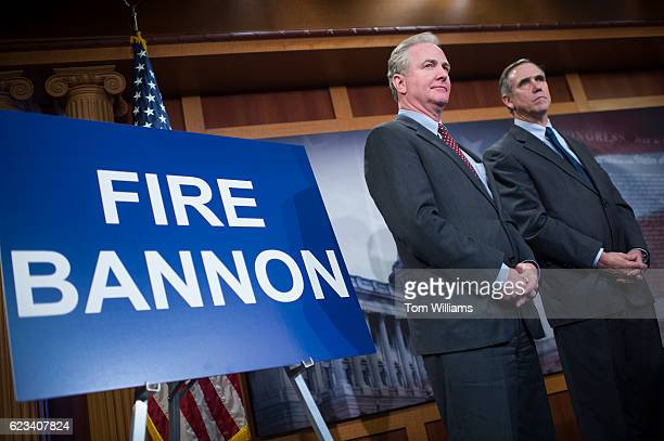 Senelect Chris Van Hollen DMd left and Sen Jeff Merkley DOre attend a news conference in the Capitol to denounce Presidentelect Donald Trump's...