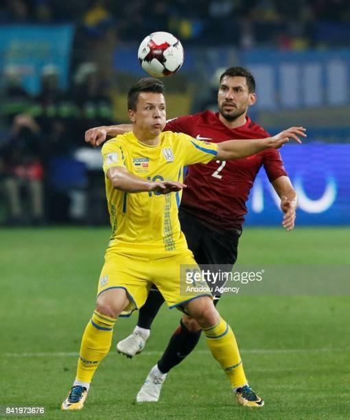 Sener Ozbayrakli of Turkey in action against Yevhen Konoplyanka of Ukraine during the 2018 FIFA World Cup Qualifications Group I match between...